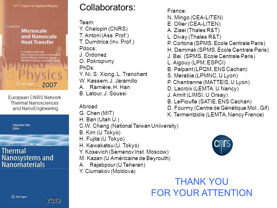 2007 2010 THANK YOU FOR YOUR ATTENTION Collaborators: Team: Y. Chalopin (CNRS) T. Antoni (Ass. Prof.) T. Dumitrica (Inv. Prof.) Pdocs: J. Ordonez O. P