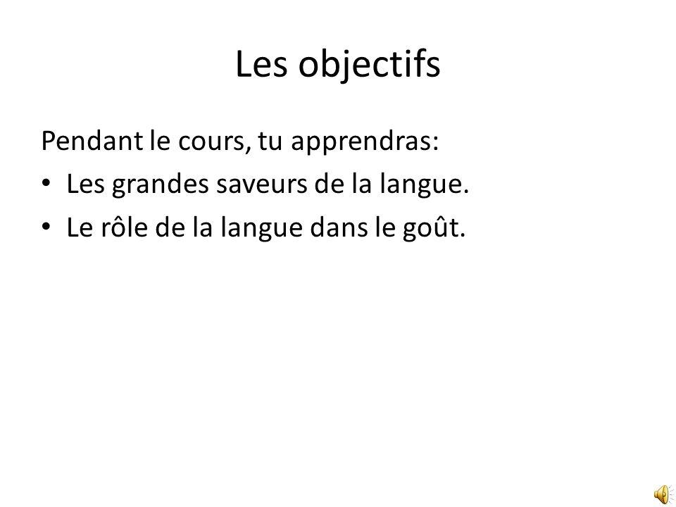 Les objectifs Pendant le cours, tu apprendras: Les grandes saveurs de la langue.