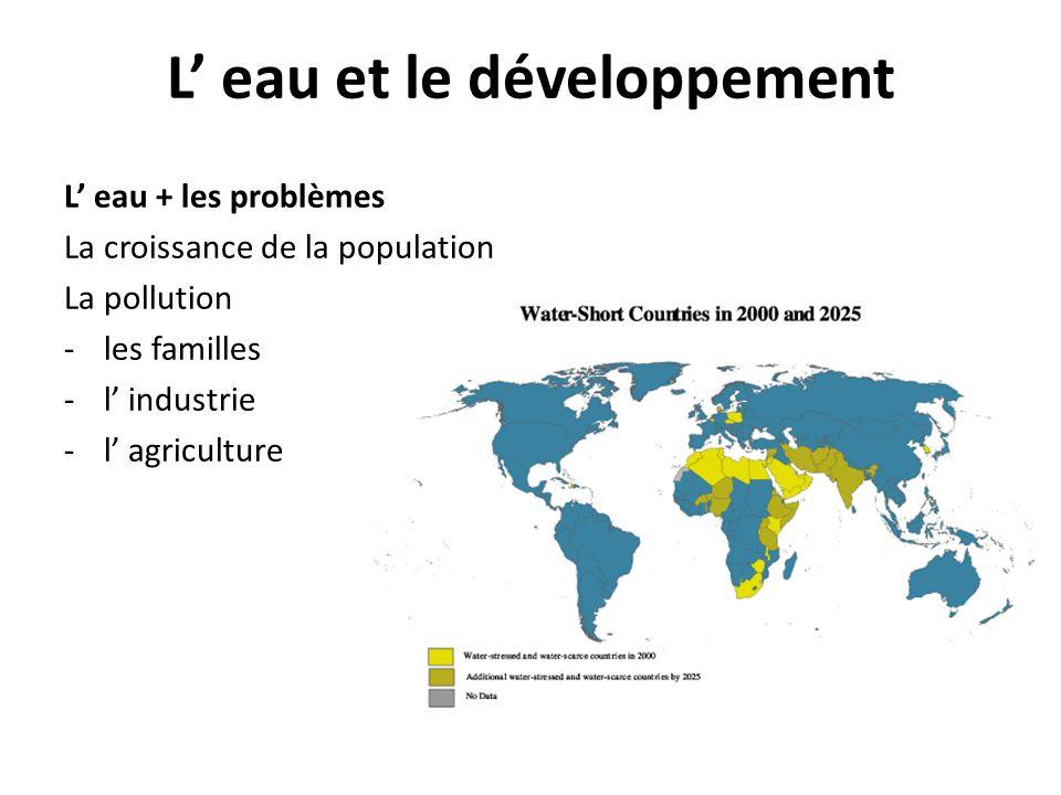L eau et le développement L eau + les problèmes La croissance de la population La pollution -les familles -l industrie -l agriculture