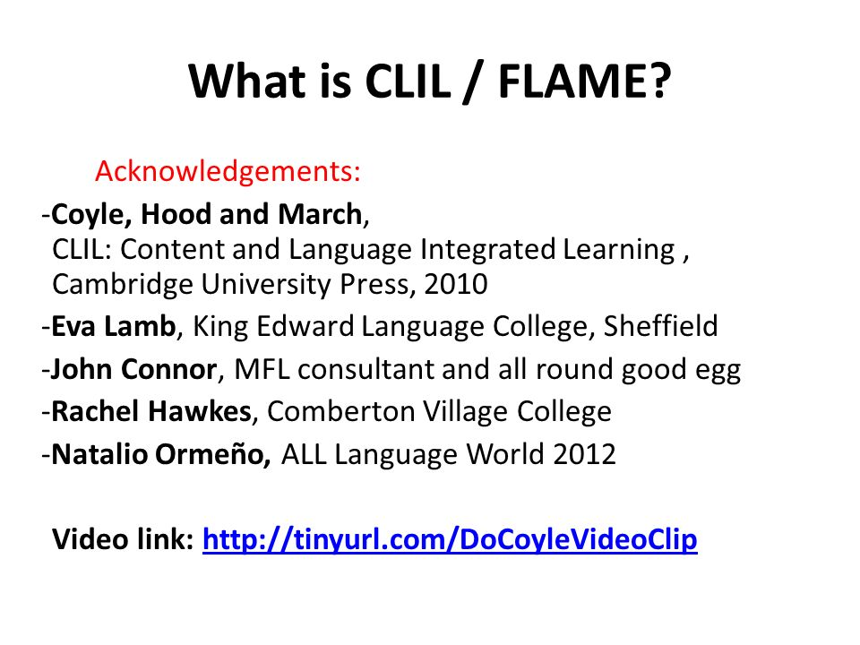 What is CLIL / FLAME.
