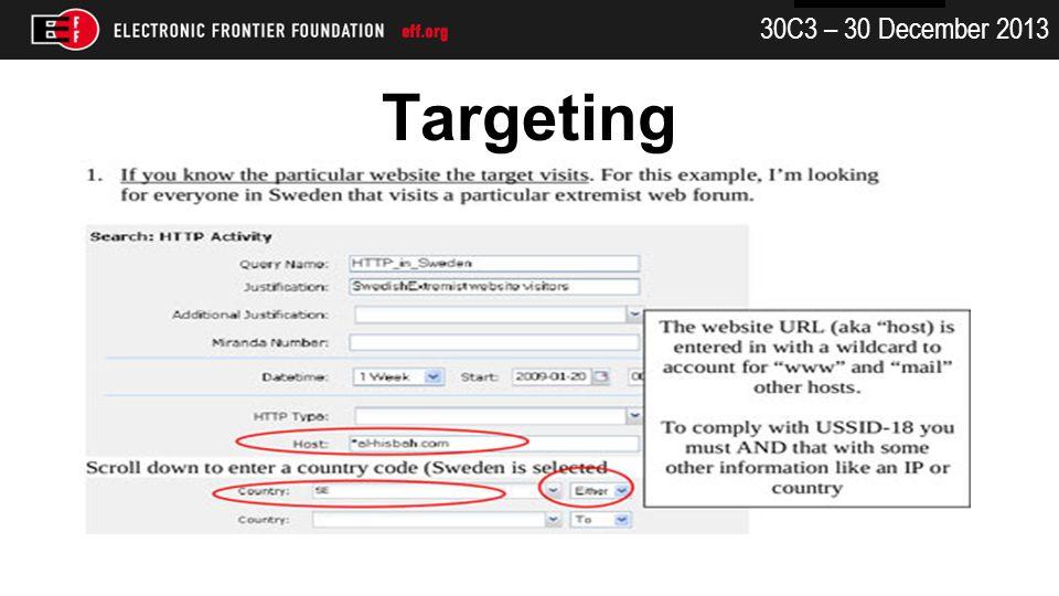 30C3 – 30 December 2013 Targeting