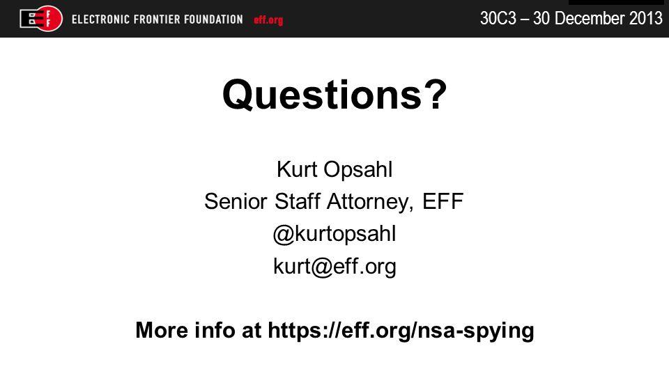 30C3 – 30 December 2013 Questions.