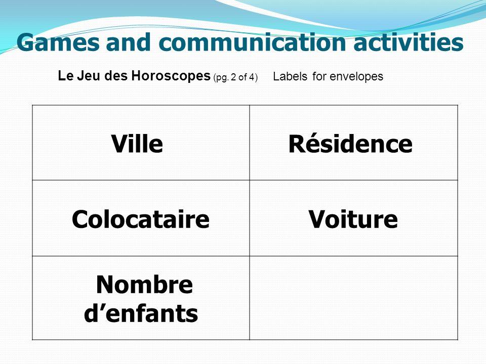 Games and communication activities Ville Résidence ColocataireVoiture Nombre denfants Le Jeu des Horoscopes (pg. 2 of 4) Labels for envelopes