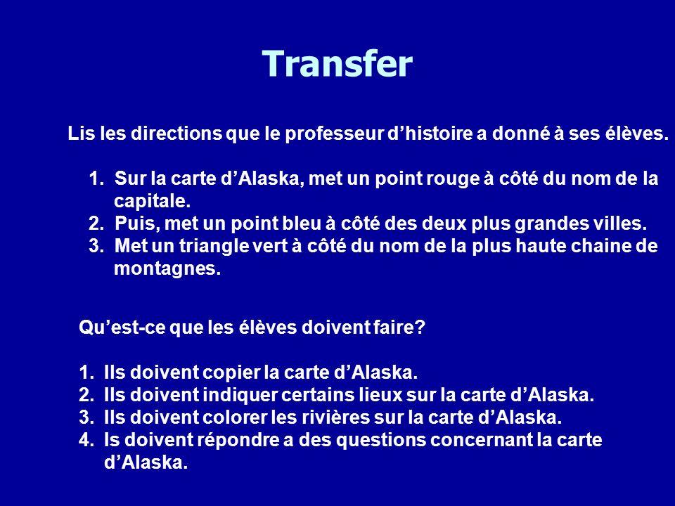 Transfer Lis les directions que le professeur dhistoire a donné à ses élèves. 1. Sur la carte dAlaska, met un point rouge à côté du nom de la capitale
