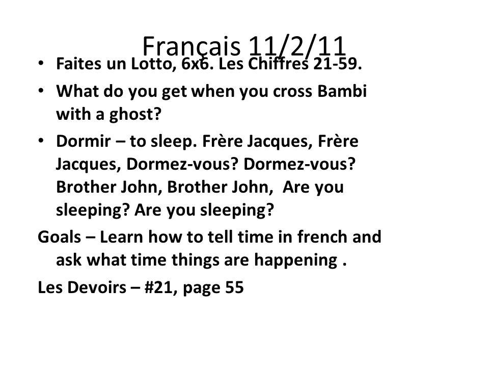 Français 11/2/11 Faites un Lotto, 6x6. Les Chiffres 21-59.