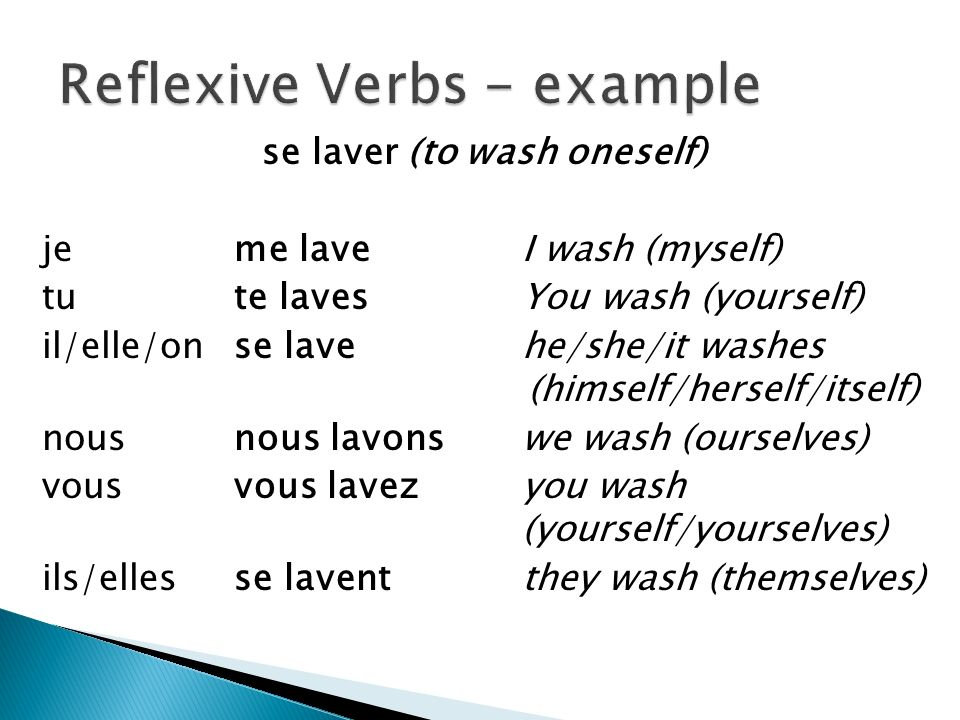 se laver (to wash oneself) jeme laveI wash (myself) tu te lavesYou wash (yourself) il/elle/onse lavehe/she/it washes (himself/herself/itself) nousnous