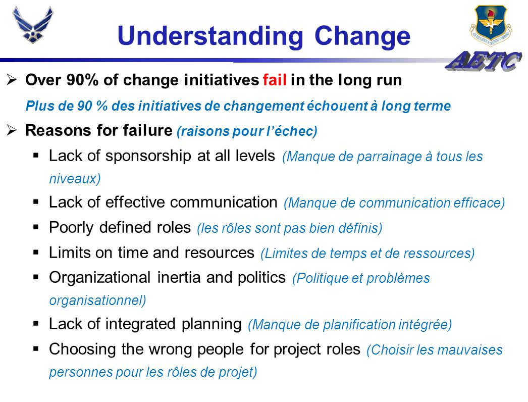Understanding Change Over 90% of change initiatives fail in the long run Plus de 90 % des initiatives de changement échouent à long terme Reasons for