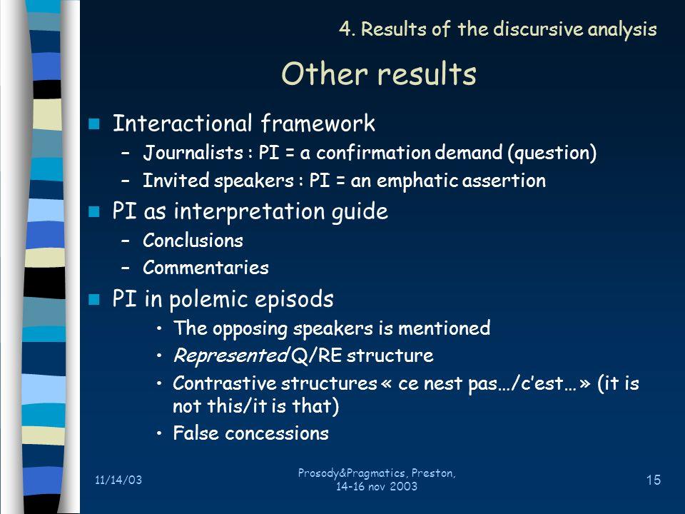 11/14/03 Prosody&Pragmatics, Preston, 14-16 nov 2003 14 Distribution of the interactive generic relations 4.