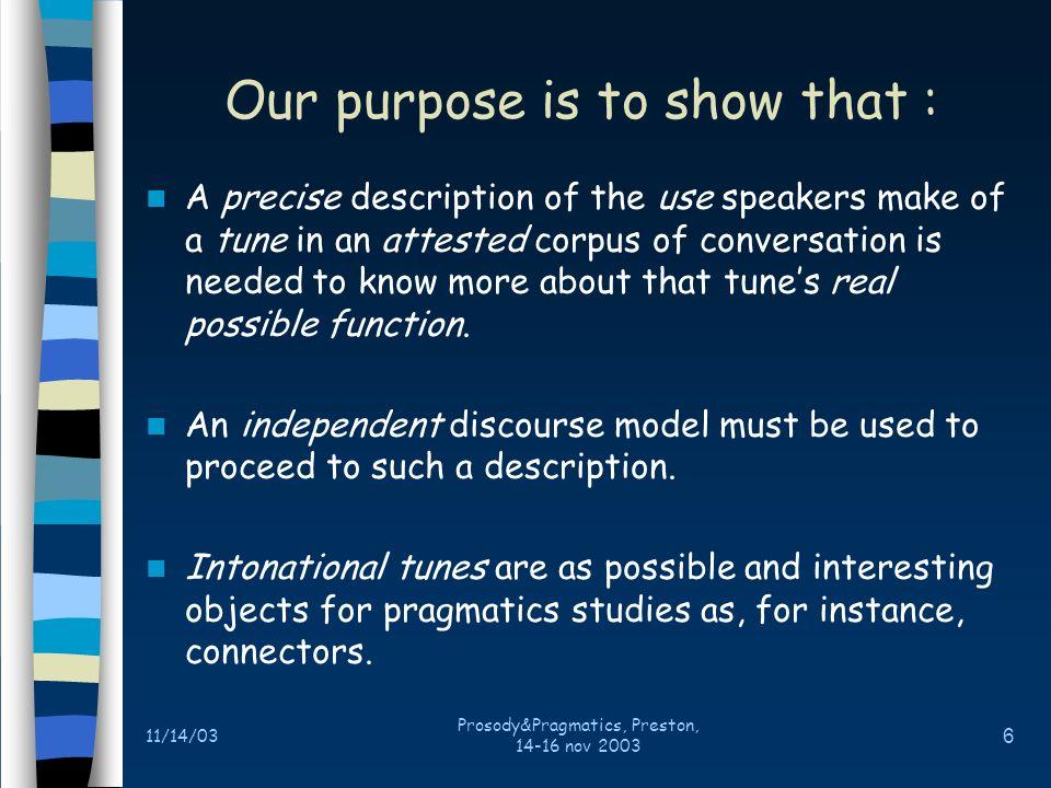 11/14/03 Prosody&Pragmatics, Preston, 14-16 nov 2003 5 For discourse analysis and pragmatics Prosody has essentially a structural function –Notion of paratone in Brown G.