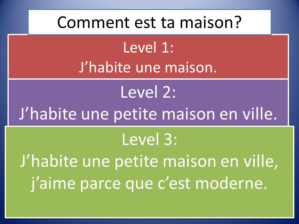 Level 1: Jhabite une maison. Level 2: Jhabite une petite maison en ville. Level 2: Jhabite une petite maison en ville. Level 3: Jhabite une petite mai