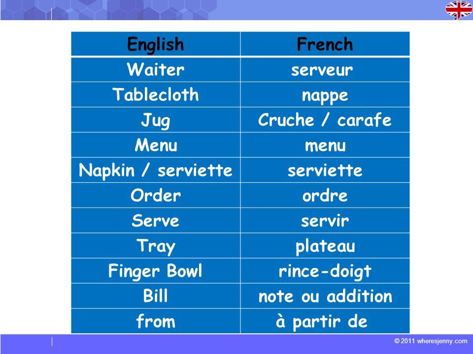 © 2011 wheresjenny.com EnglishFrench Waiterserveur Tableclothnappe JugCruche / carafe Menumenu Napkin / servietteserviette Orderordre Serveservir Tray