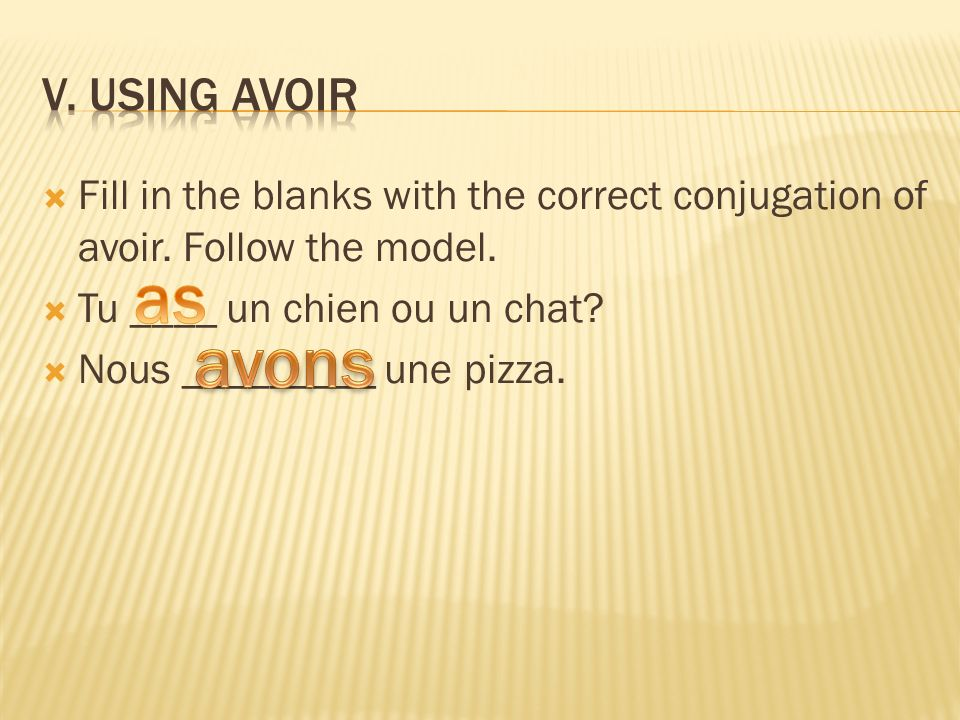 Fill in the blanks with the correct conjugation of avoir. Follow the model. Tu ____ un chien ou un chat? Nous _________ une pizza.