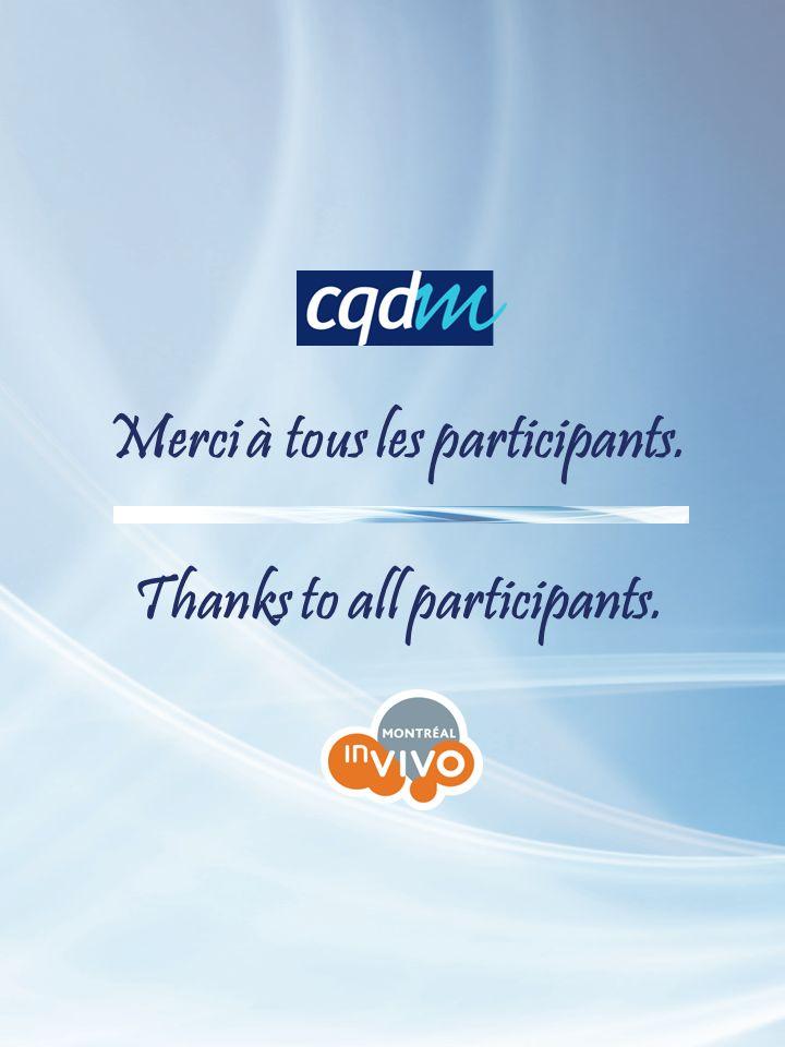 Merci à tous les participants. Thanks to all participants.