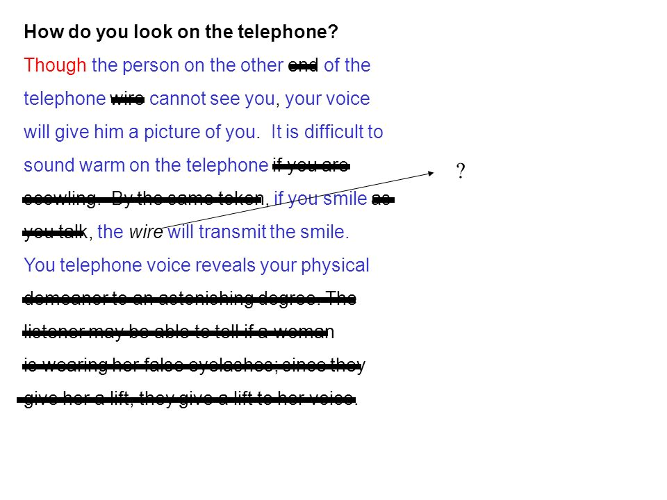 How do you look on the telephone.