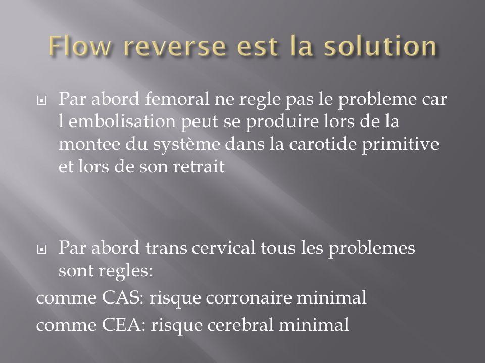 Par abord femoral ne regle pas le probleme car l embolisation peut se produire lors de la montee du système dans la carotide primitive et lors de son