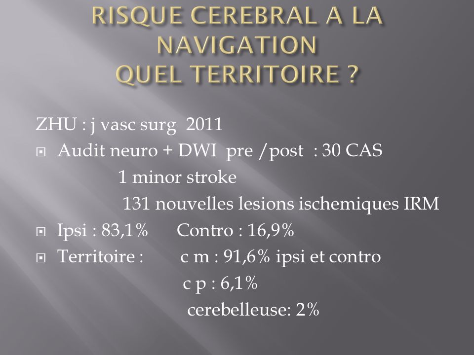 ZHU : j vasc surg 2011 Audit neuro + DWI pre /post : 30 CAS 1 minor stroke 131 nouvelles lesions ischemiques IRM Ipsi : 83,1% Contro : 16,9% Territoir