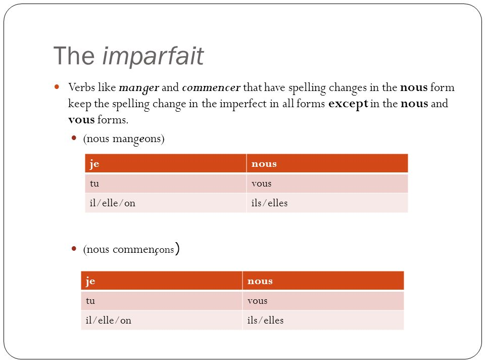 The imparfait Verbs like manger and commencer that have spelling changes in the nous form keep the spelling change in the imperfect in all forms excep