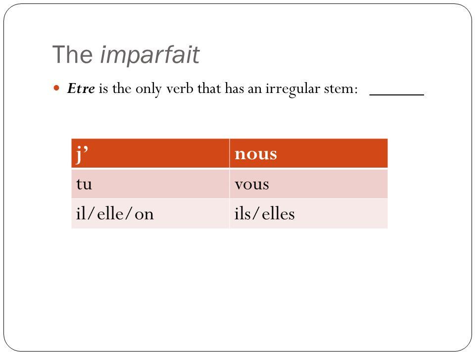 The imparfait Etre is the only verb that has an irregular stem: _____ jnous tuvous il/elle/onils/elles