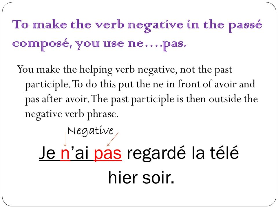 To make the verb negative in the passé composé, you use ne….pas. You make the helping verb negative, not the past participle. To do this put the ne in