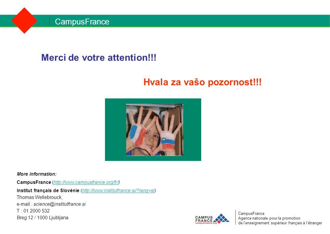 CampusFrance CampusFrance Agence nationale pour la promotion de lenseignement supérieur français à létranger Merci de votre attention!!! Hvala za vašo