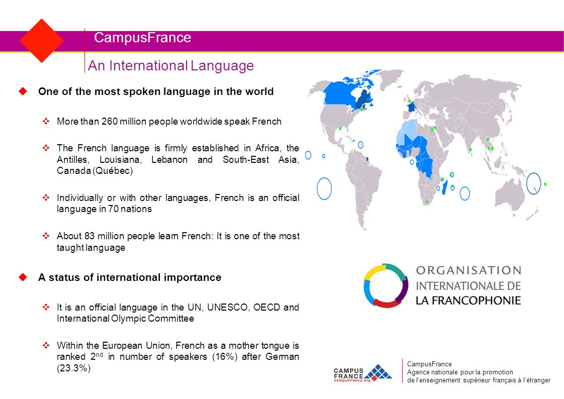 CampusFrance CampusFrance Agence nationale pour la promotion de lenseignement supérieur français à létranger An International Language One of the most spoken language in the world More than 260 million people worldwide speak French The French language is firmly established in Africa, the Antilles, Louisiana, Lebanon and South-East Asia, Canada (Québec) Individually or with other languages, French is an official language in 70 nations About 83 million people learn French: It is one of the most taught language A status of international importance It is an official language in the UN, UNESCO, OECD and International Olympic Committee Within the European Union, French as a mother tongue is ranked 2 nd in number of speakers (16%) after German (23.3%)