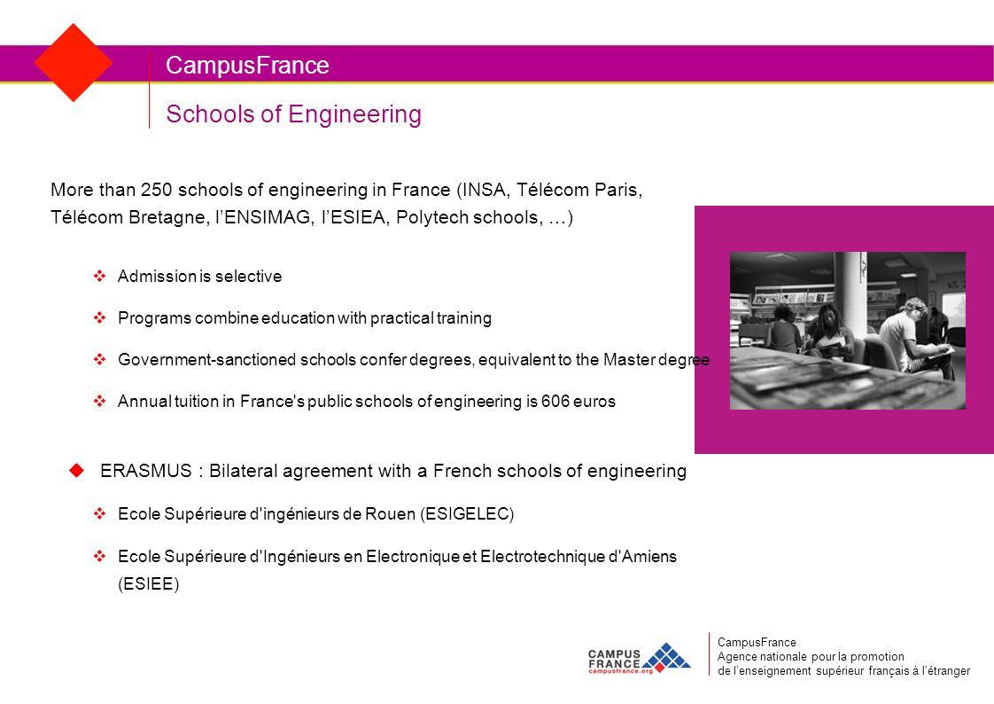 Schools of Engineering CampusFrance More than 250 schools of engineering in France (INSA, Télécom Paris, Télécom Bretagne, lENSIMAG, lESIEA, Polytech