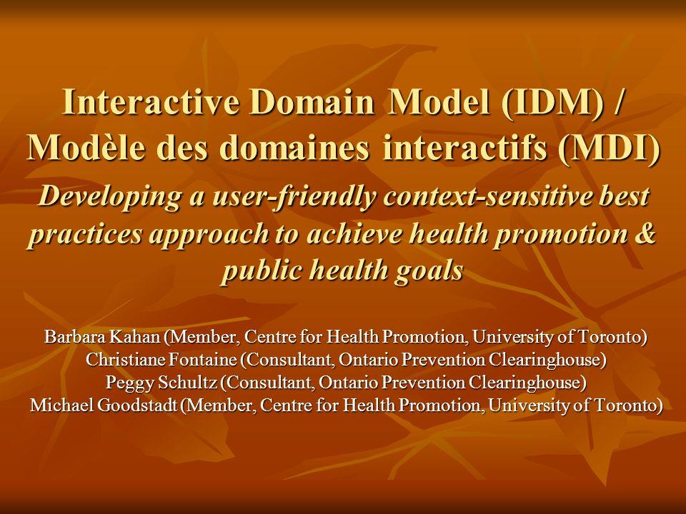 Interactive Domain Model (IDM) / Modèle des domaines interactifs (MDI) Developing a user-friendly context-sensitive best practices approach to achieve