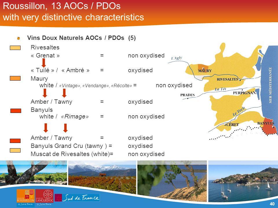 40 Roussillon, 13 AOCs / PDOs with very distinctive characteristics Vins Doux Naturels AOCs / PDOs (5) Rivesaltes « Grenat » = non oxydised « Tuilé »