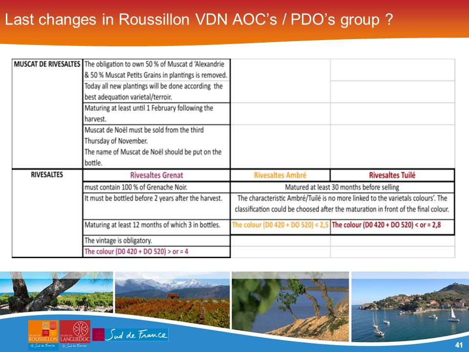 41 Last changes in Roussillon VDN AOCs / PDOs group
