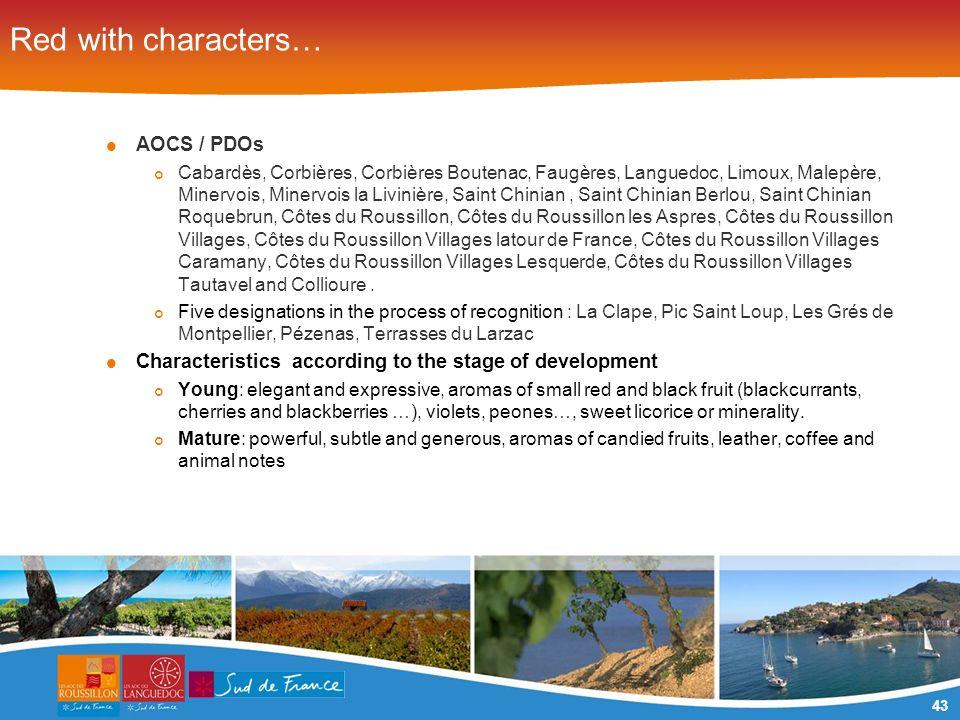 43 Red with characters… AOCS / PDOs Cabardès, Corbières, Corbières Boutenac, Faugères, Languedoc, Limoux, Malepère, Minervois, Minervois la Livinière,