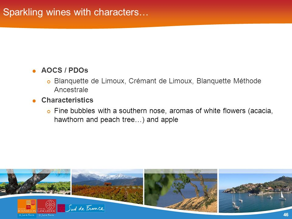 46 Sparkling wines with characters… AOCS / PDOs Blanquette de Limoux, Crémant de Limoux, Blanquette Méthode Ancestrale Characteristics Fine bubbles with a southern nose, aromas of white flowers (acacia, hawthorn and peach tree…) and apple