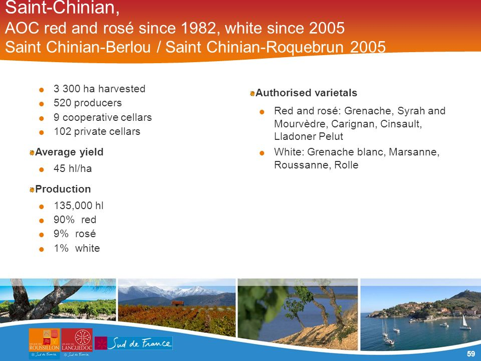 59 Saint-Chinian, AOC red and rosé since 1982, white since 2005 Saint Chinian-Berlou / Saint Chinian-Roquebrun 2005 3 300 ha harvested 520 producers 9 cooperative cellars 102 private cellars Average yield 45 hl/ha Production 135,000 hl 90% red 9% rosé 1% white Authorised varietals Red and rosé: Grenache, Syrah and Mourvèdre, Carignan, Cinsault, Lladoner Pelut White: Grenache blanc, Marsanne, Roussanne, Rolle