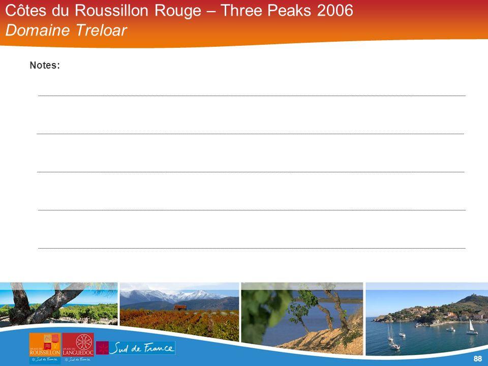 88 Côtes du Roussillon Rouge – Three Peaks 2006 Domaine Treloar Notes: