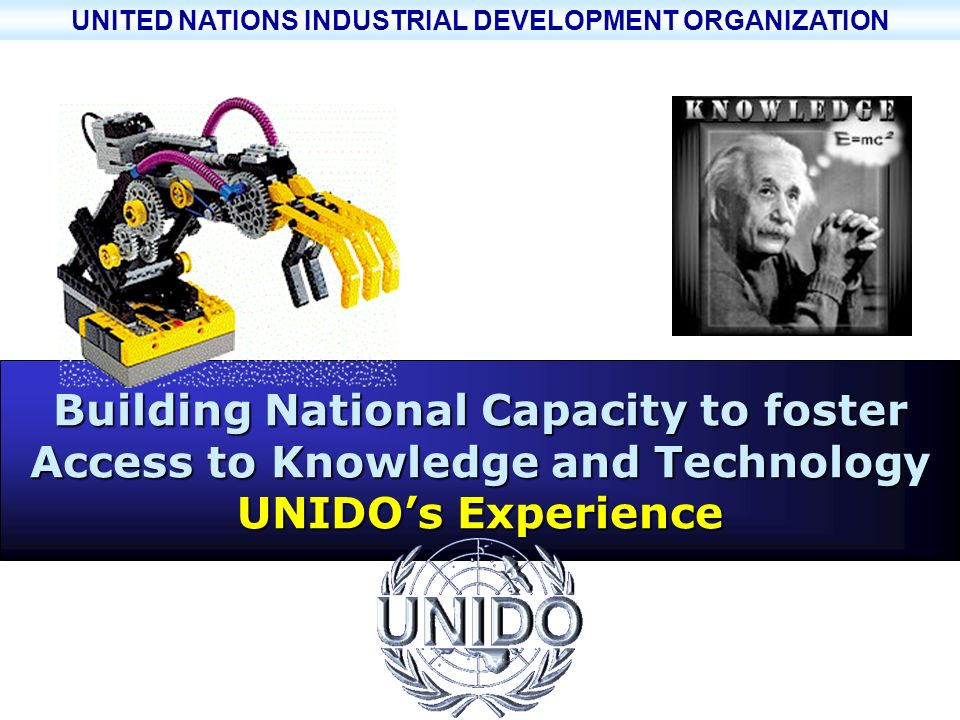 UNITED NATIONS INDUSTRIAL DEVELOPMENT ORGANIZATION UNIDO - UNITED NATIONS INDUSTRIAL DEVELOPMENT ORGANIZATION ONUDI ~ ORGANISATION DES NATIONS UNIES POUR LE DEVELOPPEMENT INDUSTRIEL UNIMED BN training seminar 22 February 2002 Page 23 Lack of knowledge of technology opportunities and skills Disconnected/scattered SMEs (value chains?) Gap in transferring innovation culture to the business community and in encouraging investment in new technologies Limited capacity to upgrade available technology/continuous improvement Underdeveloped science and technology infrastructure including quality infrastructure Lack of large private industries with their own R&D activities and poor R&D in SMEs Inadequate financing schemes Limited adaptation and customization capability ………………..