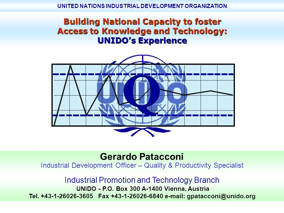 UNITED NATIONS INDUSTRIAL DEVELOPMENT ORGANIZATION Objective of the presentation: Exchange ideas Identify key issues Stimulate discussions Examples……… Building National Capacity to foster Building National Capacity to foster Access to Knowledge and Technology: Access to Knowledge and Technology: UNIDOs Experience UNIDOs Experience