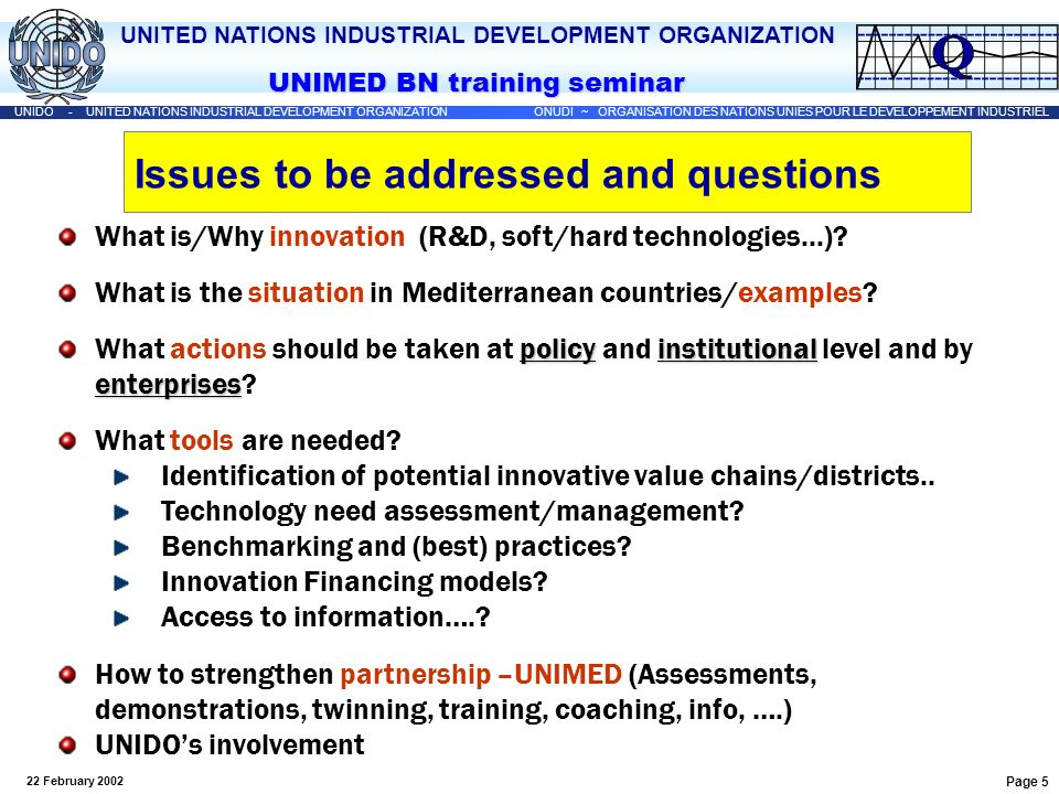 UNITED NATIONS INDUSTRIAL DEVELOPMENT ORGANIZATION UNIDO - UNITED NATIONS INDUSTRIAL DEVELOPMENT ORGANIZATION ONUDI ~ ORGANISATION DES NATIONS UNIES POUR LE DEVELOPPEMENT INDUSTRIEL UNIMED BN training seminar 22 February 2002 Page 46 UNIDO Programme on TEST / MED Transfer of Environmentally Sound Technologies in the Mediterranean Region building capacity in industrial service institutions in four countries for the identification of EST and the least costly path to environmental compliance The TEST focal points: UNIDO/UNEP National Cleaner Production Centre, (Tunisia and Morocco), or a UNIDO-EU cleaner production centre (Lebanon) or USAID/DANIDA Pollution Prevention Centre (Egypt) REVIEW CP EMS EMA EST Under final negotiation for GEF Contact: rdepalma@unido.orgrdepalma@unido.org