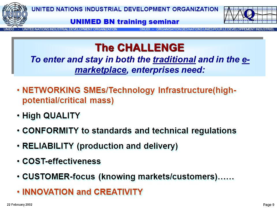UNITED NATIONS INDUSTRIAL DEVELOPMENT ORGANIZATION UNIDO - UNITED NATIONS INDUSTRIAL DEVELOPMENT ORGANIZATION ONUDI ~ ORGANISATION DES NATIONS UNIES POUR LE DEVELOPPEMENT INDUSTRIEL UNIMED BN training seminar 22 February 2002 Page 30 Trade and TK Transfer Regulation of international technology transactions: Main forms of international technology transaction Economic issues and legal problems associated with each form of transaction Regulatory mechanisms (approval and registration procedures, competition or antitrust laws…) Conformity assessment….