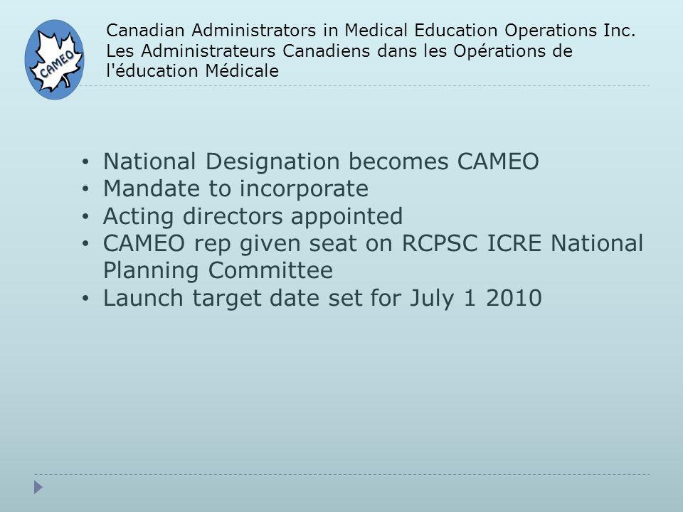 Canadian Administrators in Medical Education Operations Inc. Les Administrateurs Canadiens dans les Opérations de l'éducation Médicale National Design
