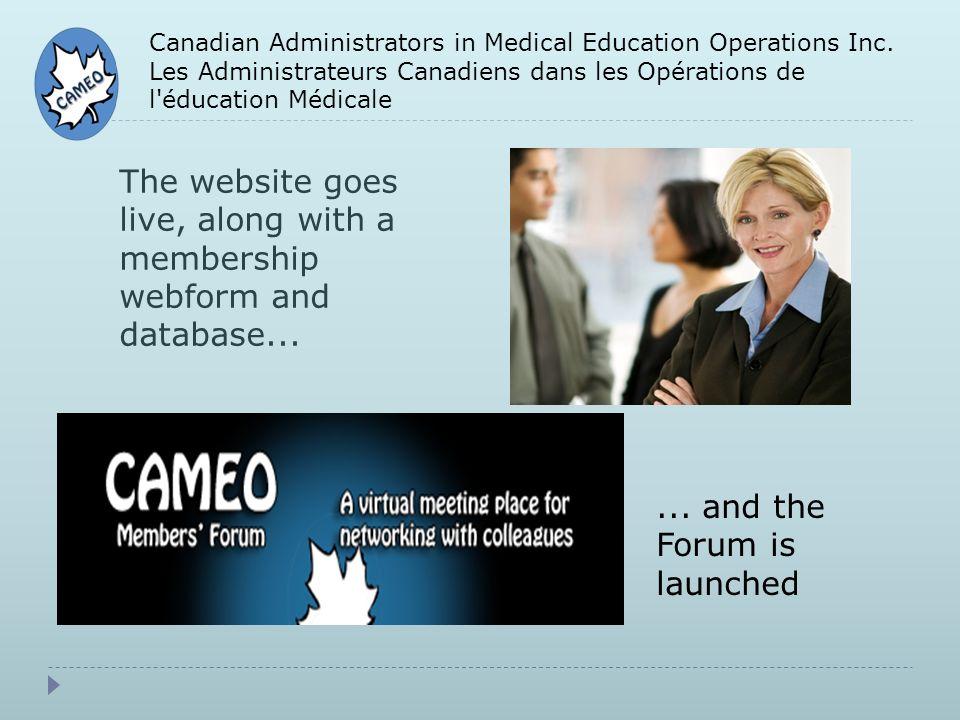 Canadian Administrators in Medical Education Operations Inc. Les Administrateurs Canadiens dans les Opérations de l'éducation Médicale The website goe