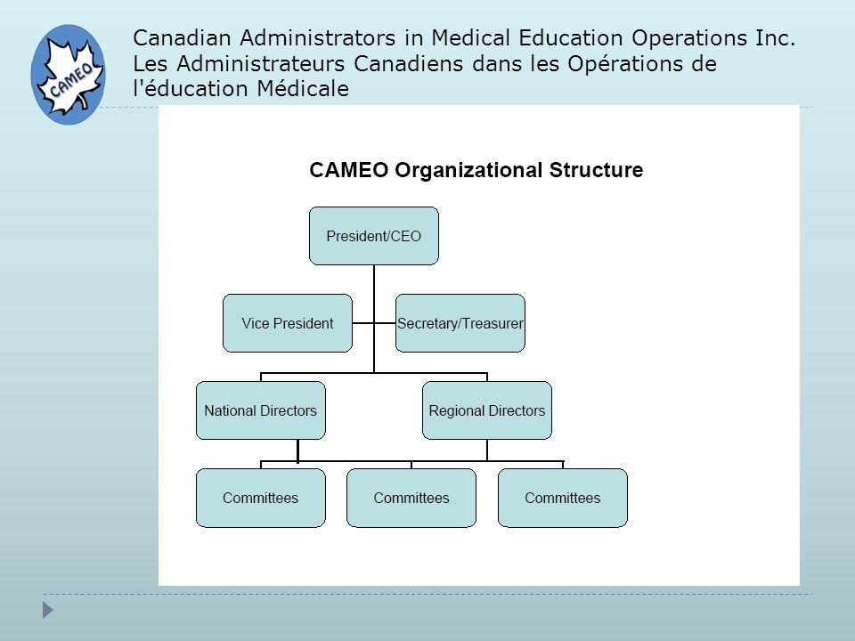 Canadian Administrators in Medical Education Operations Inc. Les Administrateurs Canadiens dans les Opérations de l'éducation Médicale