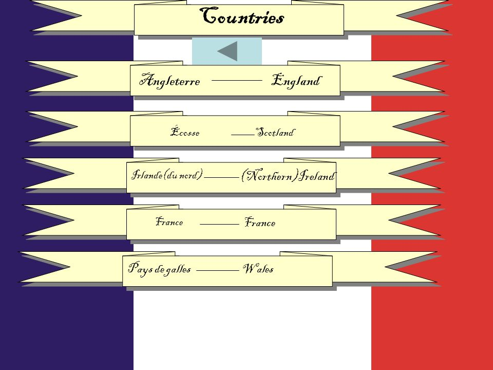 Countries AngleterreEngland ÉcosseScotland Irlande(du nord) (Northern)Ireland France Pays de galles Wales