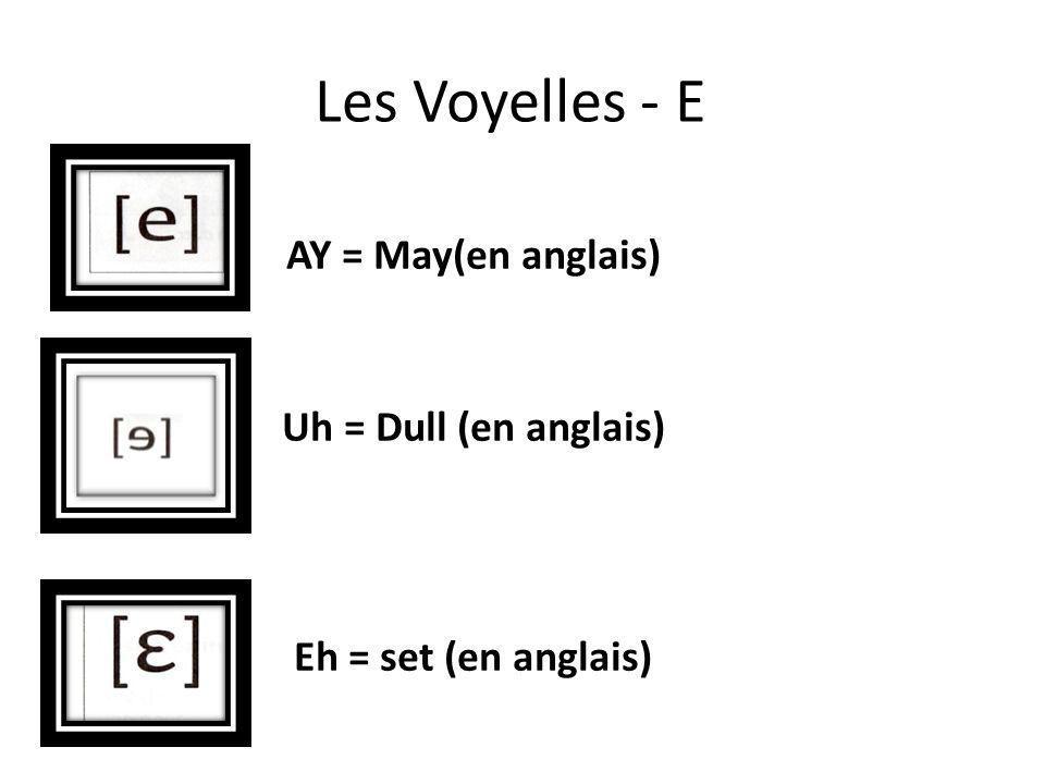 Les Voyelles - E AY = May(en anglais) Uh = Dull (en anglais) Eh = set (en anglais)