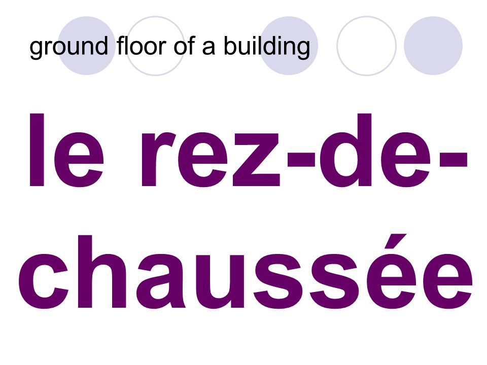 le rez-de- chaussée ground floor of a building