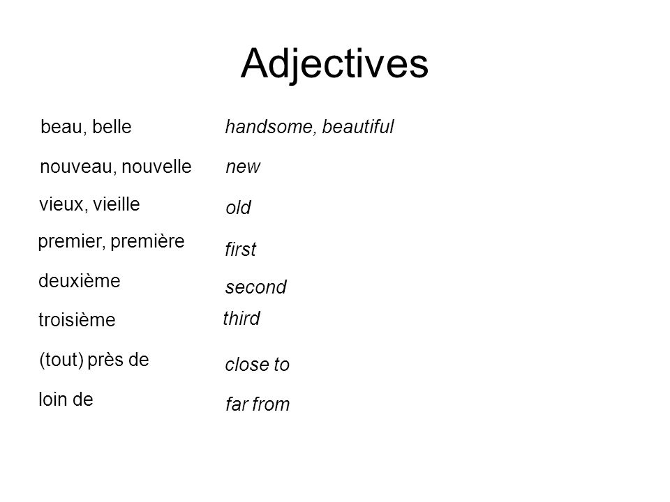 Adjectives nouveau, nouvelle beau, belle new old vieux, vieille handsome, beautiful premier, première first deuxième troisième loin de (tout) près de third far from second close to