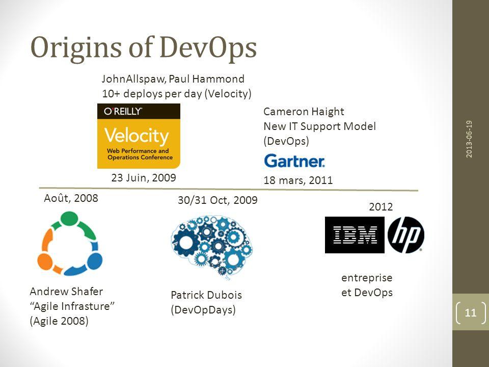 Origins of DevOps 2013-06-19 11 Patrick Dubois (DevOpDays) Andrew Shafer Agile Infrasture (Agile 2008) JohnAllspaw, Paul Hammond 10+ deploys per day (