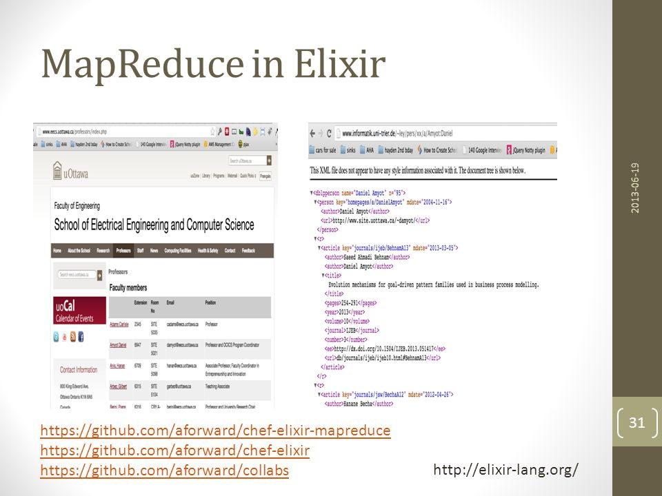 Elixir MapReduce defmodule JointAuthors do def map(list), do: map(list,list,HashDict.new []) def map([],_,hash), do: hash def map([head|tail],list,hash) do map(tail,list,HashDict.put(hash,head,list)) end def reduce(list), do: reduce(list,[]) def reduce([],reduced), do: Enum.uniq(reduced) def reduce([head|tail],reduced) do reduce(tail,reduced ++ head) end 2013-06-19 32 https://github.com/aforward/chef-elixir-mapreduce https://github.com/aforward/collabs
