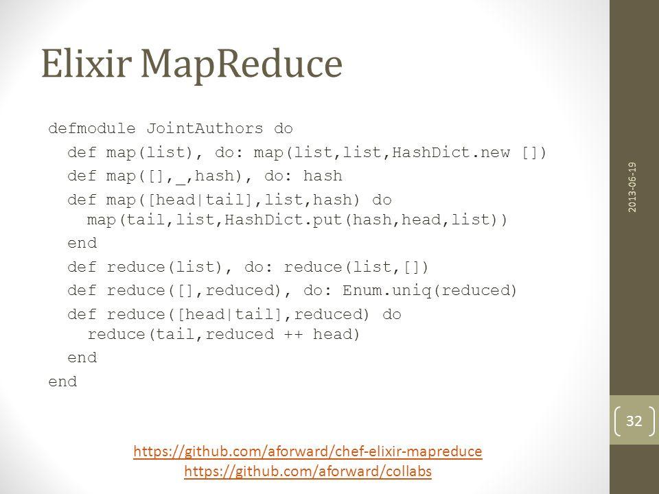 Elixir MapReduce defmodule JointAuthors do def map(list), do: map(list,list,HashDict.new []) def map([],_,hash), do: hash def map([head|tail],list,has
