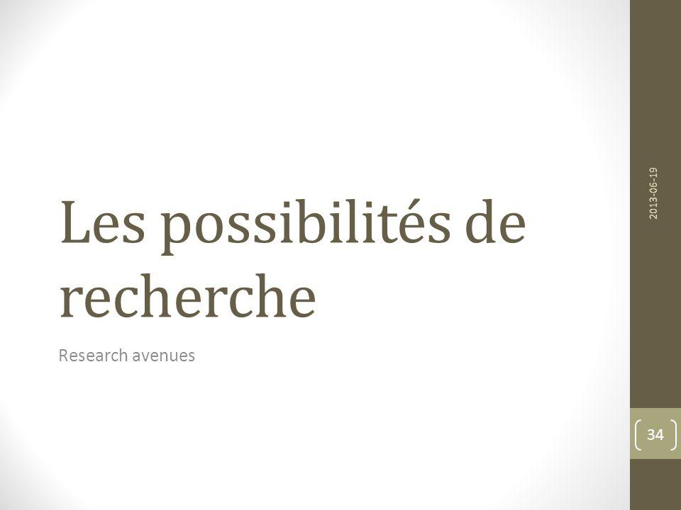 Les possibilités de recherche Research avenues 2013-06-19 34