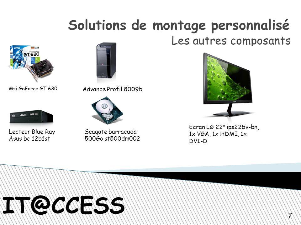 IT@CCESS Solutions de montage personnalisé Les autres composants Msi GeForce GT 630 Advance Profil 8009b Lecteur Blue Ray Asus bc 12b1st Seagate barracuda 500Go st500dm002 Ecran LG 22 ips225v-bn, 1x VGA, 1x HDMI, 1x DVI-D 7