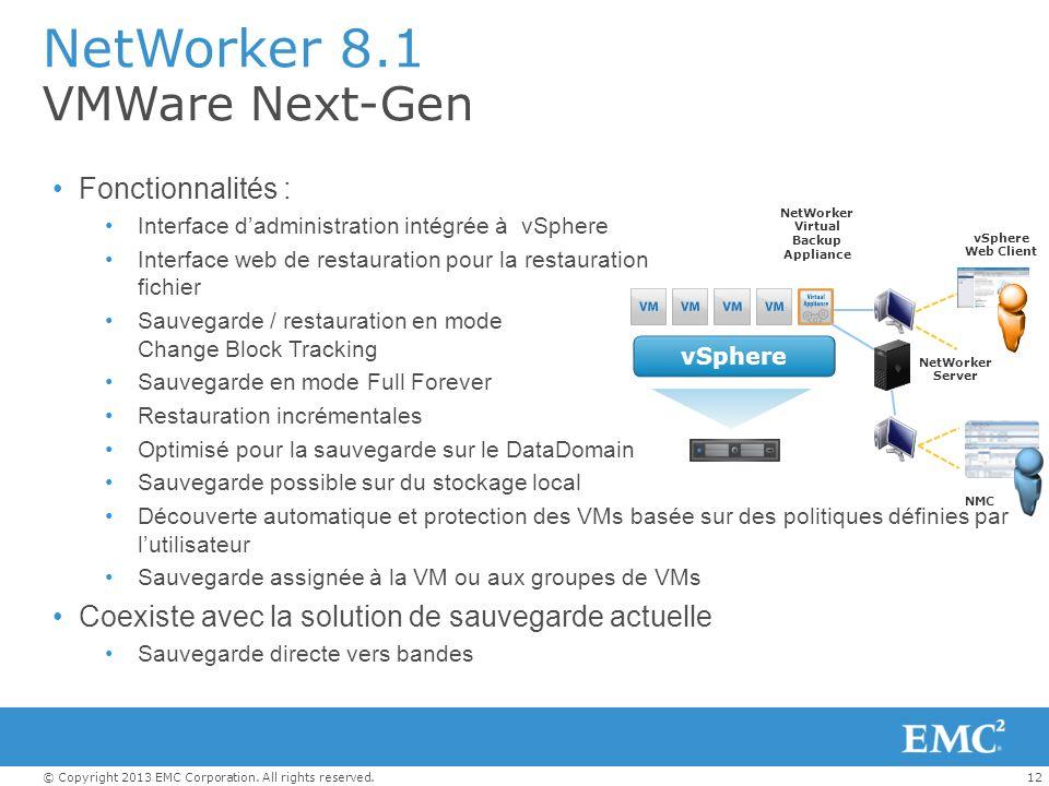 12© Copyright 2013 EMC Corporation. All rights reserved. NetWorker 8.1 VMWare Next-Gen Fonctionnalités : Interface dadministration intégrée à vSphere
